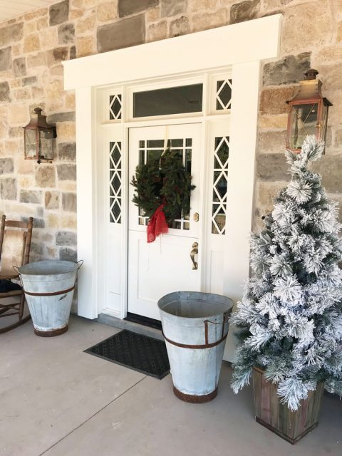 Custom front door with Christmas decorations